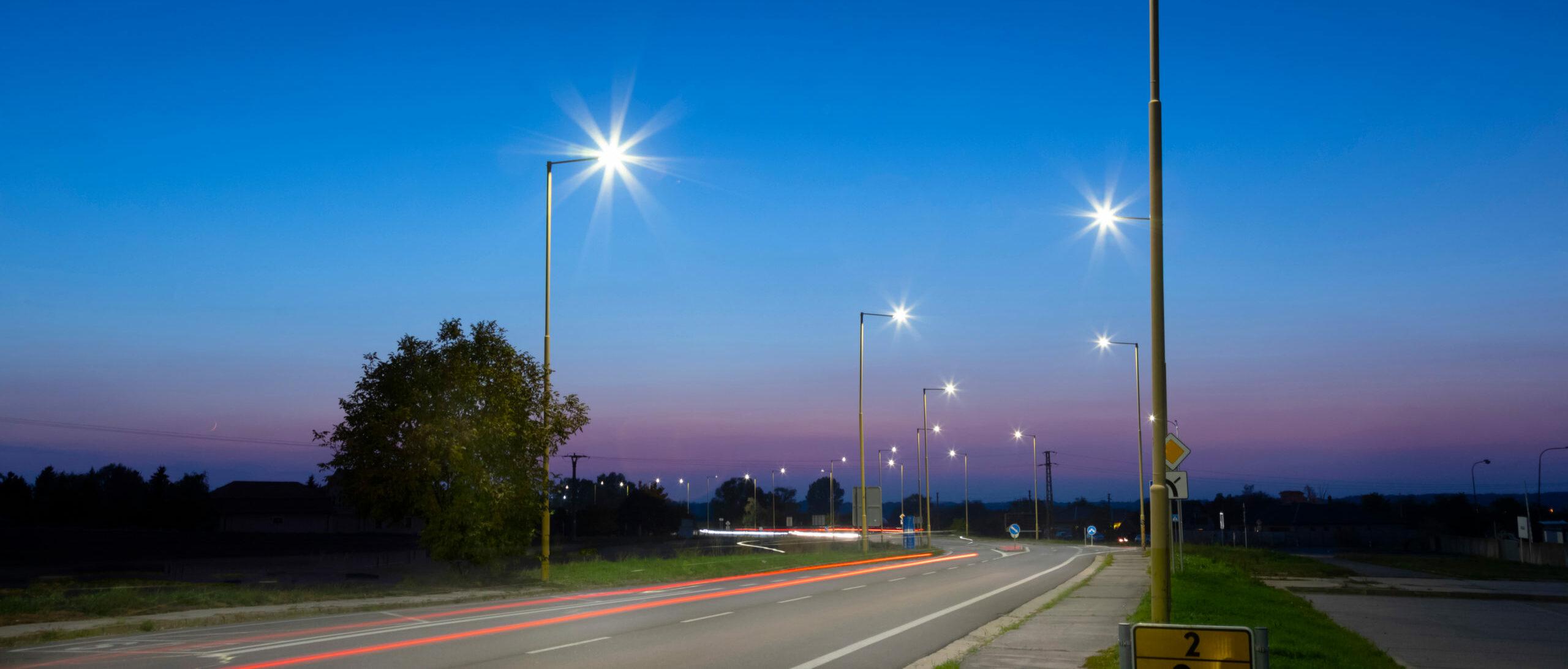 Modern,Led,Street,Lights,After,Sunset